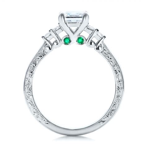 custom and emerald engagement ring 101438