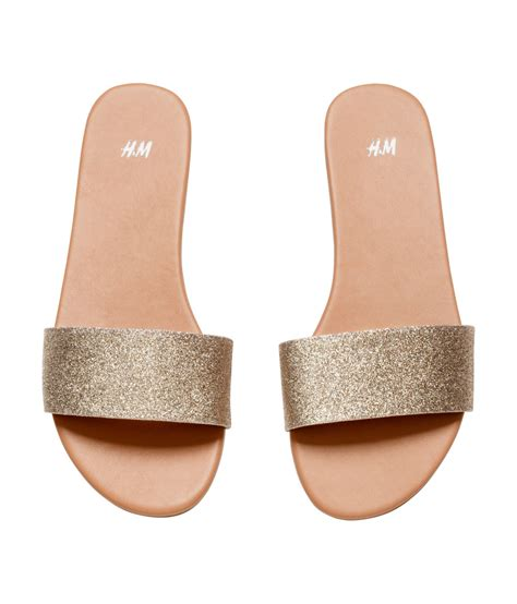 Slip On H M by Lyst H M Slip On Sandals In Metallic