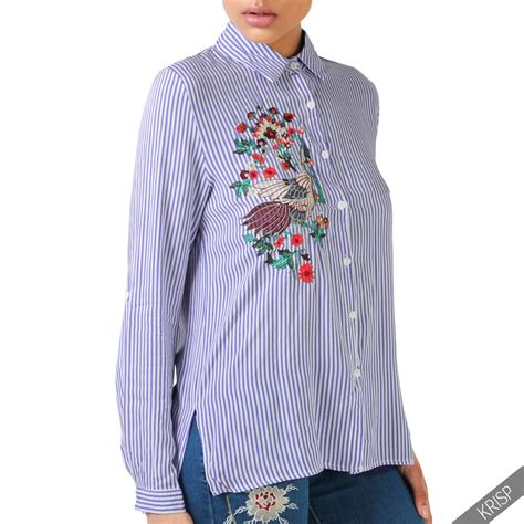 Flower Embroidered Blouse womens striped flower embroidered shirt button up