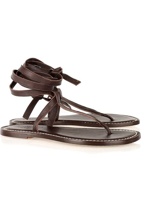 ankle tie sandals bernardo tie leather ankle wrap sandals in brown