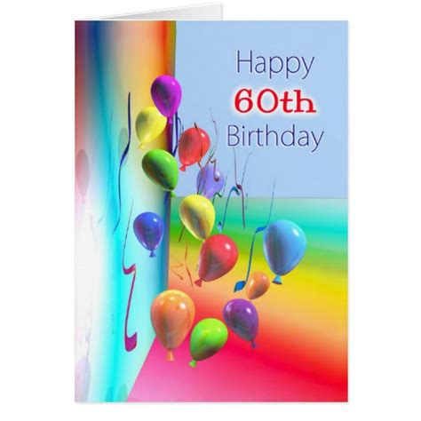 Happy Birthday Wishes On Wall Happy 60th Birthday Balloon Wall Greeting Card Zazzle