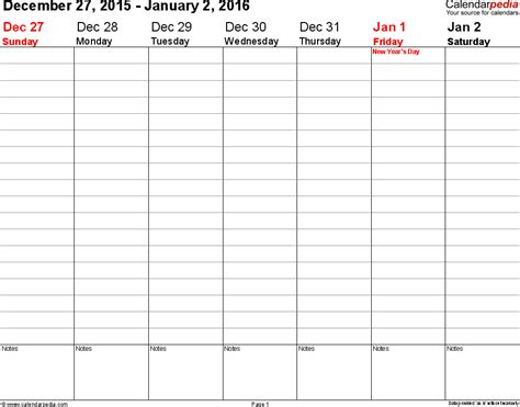 printable calendar 2016 to write on printable workweek calendars 2016 you can write in