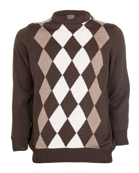 diamond pattern knit sweater haurah black cream ribbed round neck long sleeved