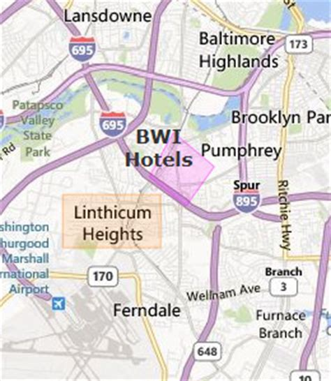 maryland map airports bwi hotels
