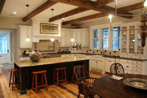 Cheap Kitchen Remodel Ideas by Rustic And Inviting Kitchens Featuring Exposed Ceiling Beams