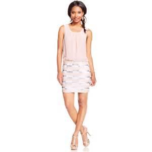 as u wish juniors sequin blouson dress in pink pink