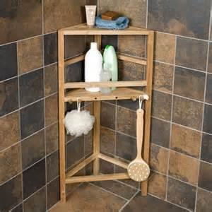 solid teak corner stand shower organizer