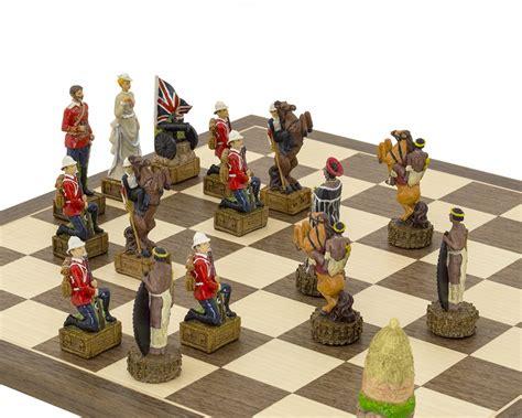 british  zulus hand painted themed chess set