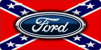 personalized novelty license plate ford on rebel flag