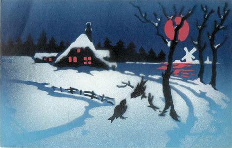 winter night scene, much snow, red moon, two birds ... P Design Logo