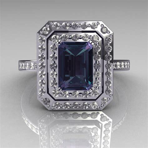 14k white gold 1 0 ct emerald cut alexandrite pave
