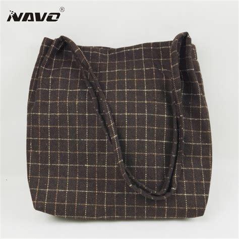 Fashion Korea Shopper Bag In Bag woolen cloth handbag winter shoulder bags plaid tote bag japanese korean style foldable