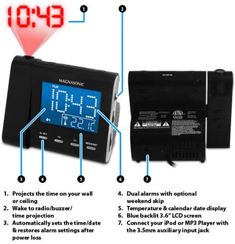 magnasonic mag mmk amfm projection clock radio