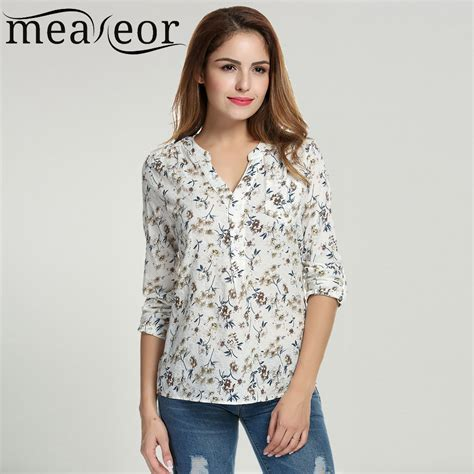 Print Casual Top 24264 מוצר meaneor floral print blouse tops 1950s 60s vintage autumn clothing casual roll up