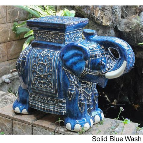 International Caravan Large Porcelain Elephant Stool by International Caravan Large Porcelain Elephant Stool