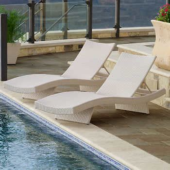 costco resin wicker lounge chairs portofino patio lounger in chalk wicker 2 pack