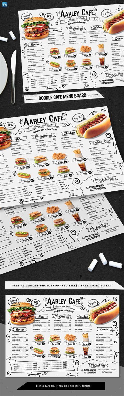 doodle cafe doodle cafe menu board by arifpoernomo graphicriver