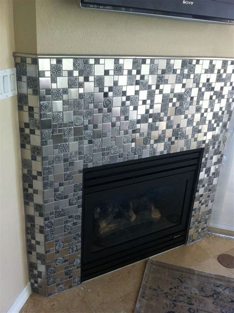 Metallic Tile Fireplace by 332 Best Mosaic Fireplace Images On
