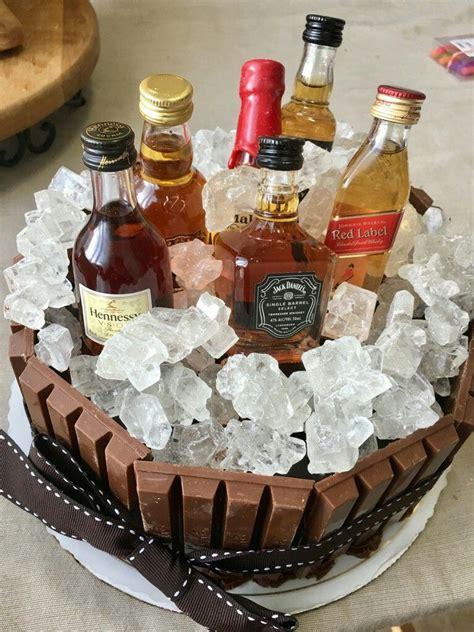 hubbys  birthday cake kitkat white rock candy  mini liquor bottles diy compilation