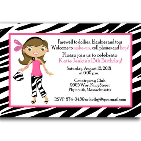 13th birthday card template 3 best 13th birthday invitations cards