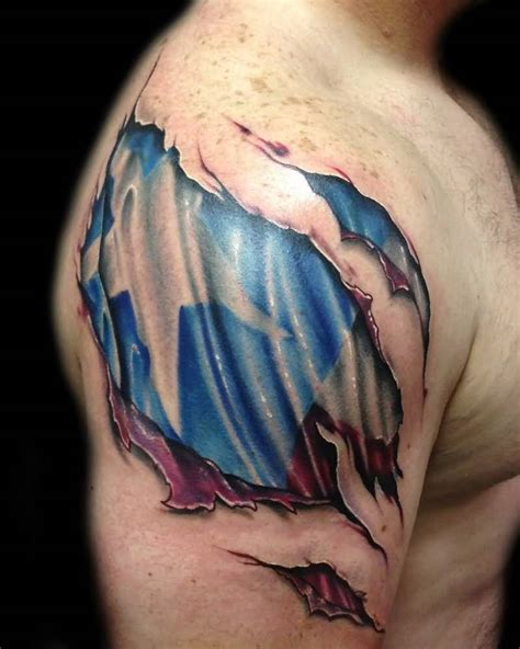 torn skin tattoos 3d ripped skin tattoos
