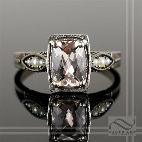 buy deco engagement ring buy a made 14k deco morganite and pearl