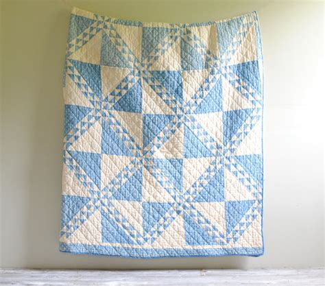 White Cotton Quilt by Vintage Blue And White Cotton Quilt Blanket With Pinwheel