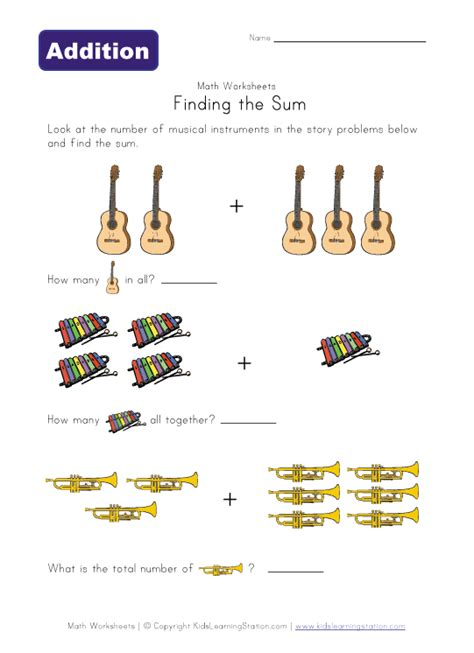 7 Instruments Id To Learn by Find The Sum Worksheet Musical Instruments Learning