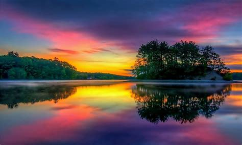 lake island tree sunset background wallpaperscom