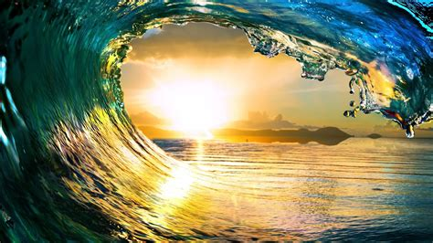 wallpaper hp nature free ocean waves sunset nature computer desktop