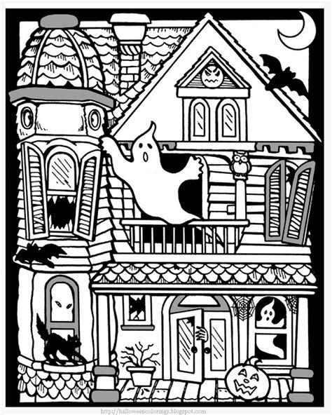 Printable Halloween Coloring Pages Printable Halloween Haunted House Color Page