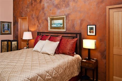 Copper Bedroom L by Copper Patina Wall Treatment Contemporary Bedroom