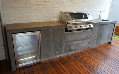 outdoor bench tops outdoor kitchen with polished concrete bench top doors
