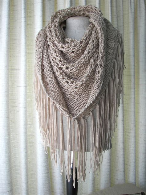 knit shawl cappuccino knit shawl triangle scarf fringes in anti pill