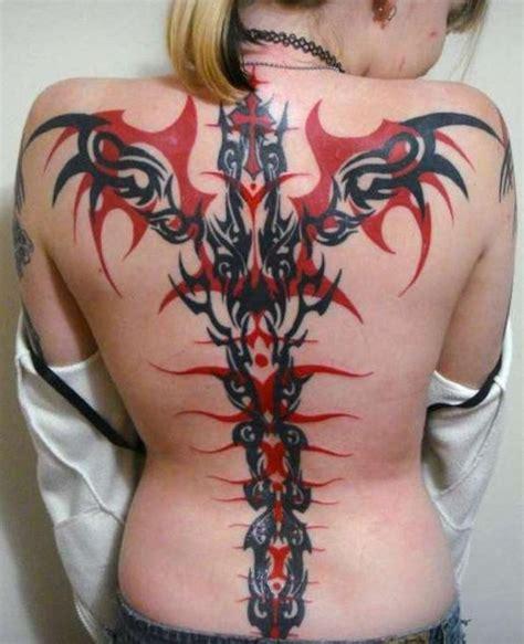 tribal tattoo upgrade striking red black full back tribal tattoo for women