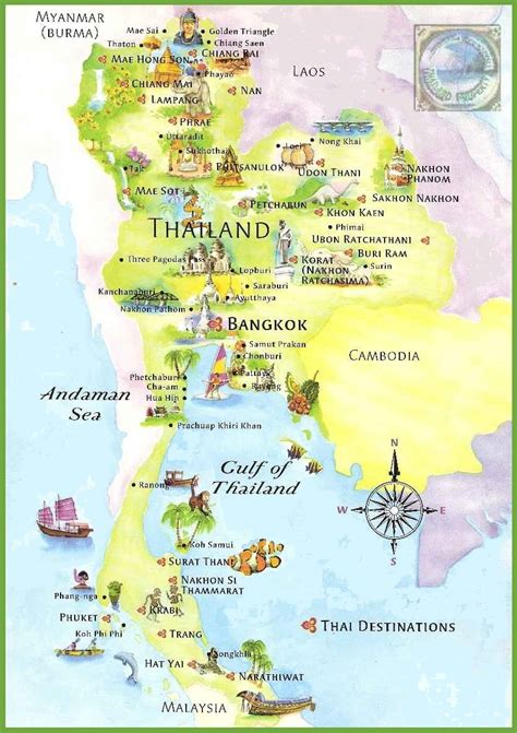 tourist map of with attractions maps update 8361184 tourist attractions map in thailand