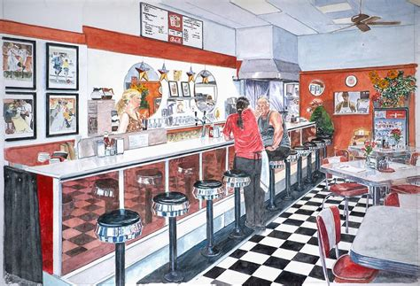 Nyc Home Decor Stores by Interior Soda Fountain Painting By Anthony Butera