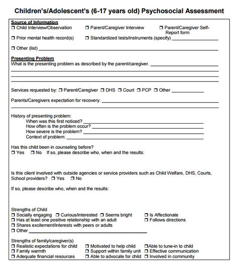 biopsychosocial assessment template psychosocial assessment 9 free for pdf