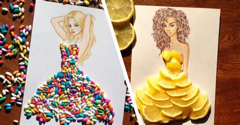 design clothes in real life edgar artis creates fashion sketches using everyday objects
