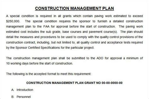 construction management template plan template free premium templates forms