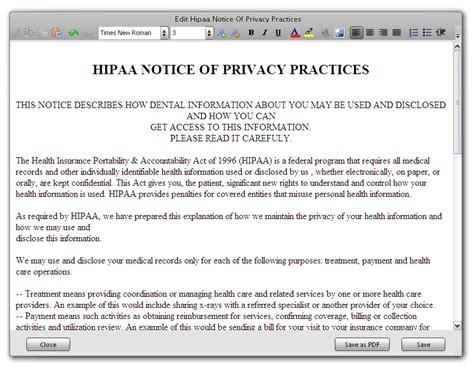 configuring hipaa notice of privacy practices