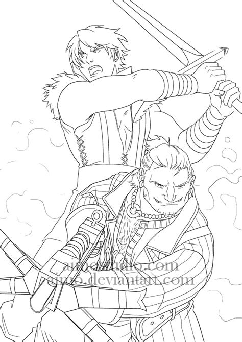 dragon age coloring page da2 men of action by aimo on deviantart