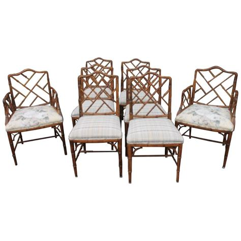 bamboo chippendale chairs set of eight century faux bamboo chippendale