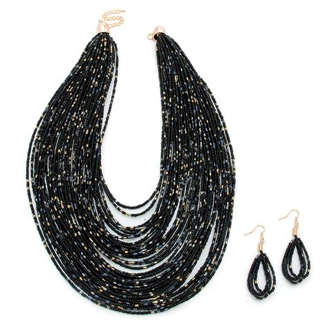 black boho multi strand faceted beaded statement