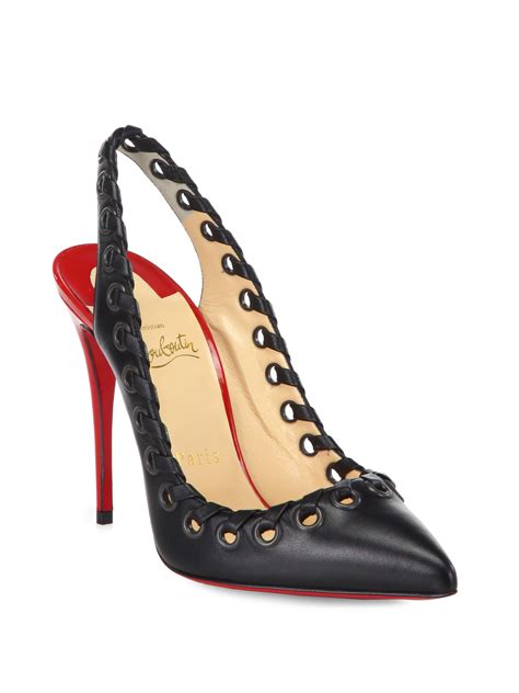lyst christian louboutin ostri whipstitch leather slingback pumps  red