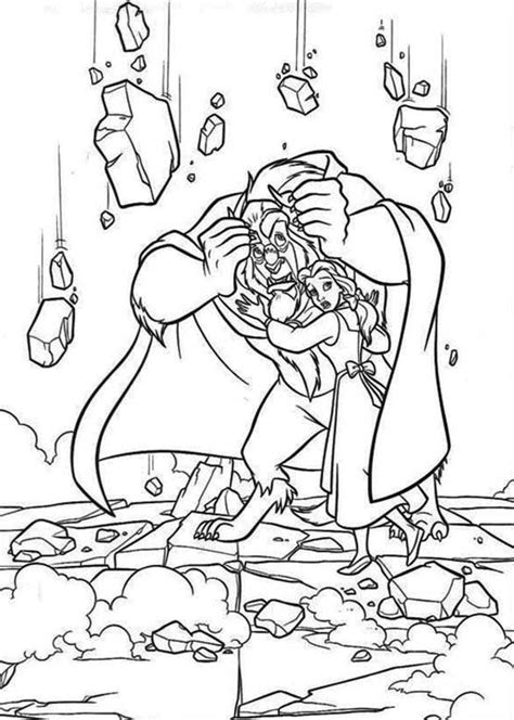 beast protect belle   rubbles coloring page