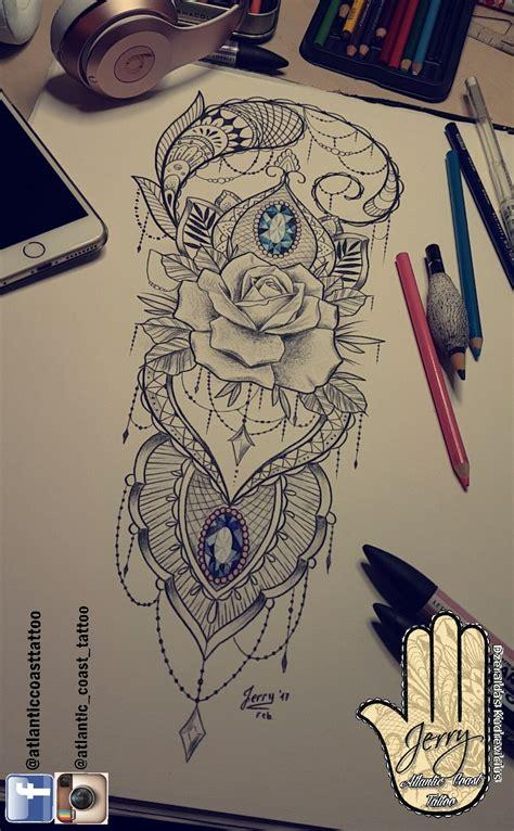 lotus rose tattoo beautiful thigh ideas by dzeraldas jerry