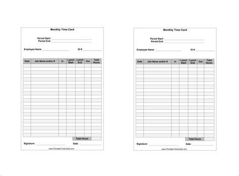 time card template 7 printable time card templates doc excel pdf free