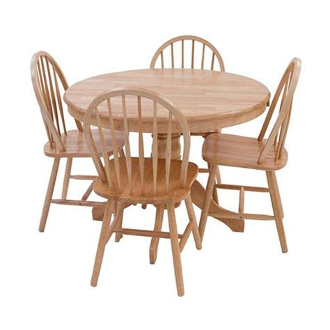 York Round Oak Dining Table And Four Dining Chairs Oak Dining Table And Chairs