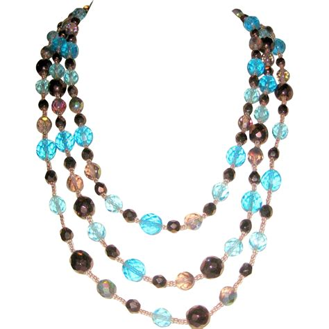 beaded l three tier glass beaded necklace blue copper brown from